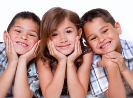 stock photo of three sisters  - Portrait of three children - JPG