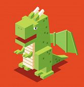 3d pixelate dragon. isometric vector
