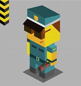 police with gun. 3d pixelate isometric vector