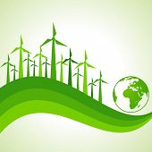 Ecology Concept - wind mill with earth