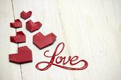 Love Heart's On White Wood