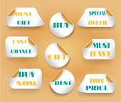 Set of stickers with text last chance, buy now, best, gift, hot price, must have, best offer