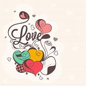 stock photo of corazon  - Beautiful love card design with floral decorated hearts for Happy Valentines Day celebration - JPG