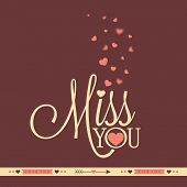 Elegant greeting card design with text Miss You and pink hearts for Valentines Day celebration.