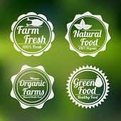 Set of four badges of farm fresh, natural food, organic farms and green food shop on stylish green background.