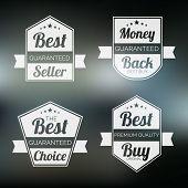 Set of four badge of best quality product with money back guarantee on stylish background.