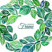Decorative frame of watercolor leaves wreath