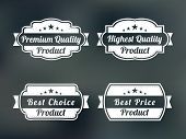 Set of four badges for premium quality, highest quality, best choice and best price product on stylish background.