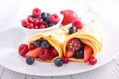crepe and berry fruit