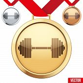 Gold Medal with the symbol of a gym inside