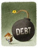 businessman with huge debt bomb