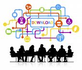 Group of People Meeting with Download Concept