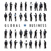 Silhouettes of Business People and Global Business Text