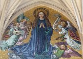 VIENNA, AUSTRIA - OCTOBER 10: Mosaic of Virgin Mary from main portal of gothic church Maria am Gestade on October 10, 2014 Vienna.