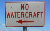 foto of waverunner  - Sign warning no boats allowed in area - JPG
