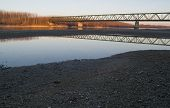 Vamosszabadi, Hungary - February 13, 2014: The Vamosszabadi Bridge Over Danube River In Time Of Low