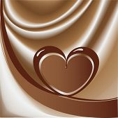 Chocolate heart from a tape in the background of milk chocolate-vector illustration