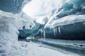 Glacial cave in vatnajokull in Iceland
