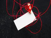 Blank Card For Text With Clothespins Heart . Symbol Of Love.