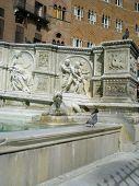 Fonte Gaia (Fountain of Joy)in Siena. Italy, Europe