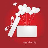 Open Box With Heart Balloon Vector Illustration. Eps 10.