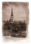Evening scenic summer view of Tallinn, Estonia. Vintage painting