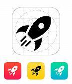 Rocket flies icon on white background.