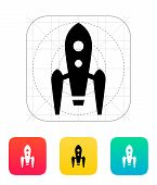 Long rocket icon on white background.