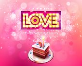 Vector gold inscription love with glowing lamps and cake