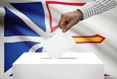 Voting Concept - Ballot Box With Canadian Province Flag On Background - Newfoundland And Labrador