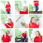 Collage of woman with paint tools