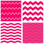 Tile vector pattern set with pink zig zag on white background