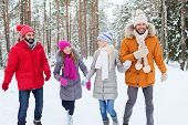 love, relationship, season, friendship and people concept - group of smiling men and women walking ad having fun in winter forest