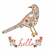 Concept hello card with floral decorative bird