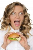 Young Woman With Hamburger Looking Away