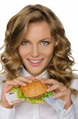 Young Woman With Hamburger From Euro
