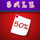 Sale. Discount 50 Percent. Sign. Vector