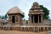 Five rathas complex with  in Mamallapuram, Tamil Nadu, India