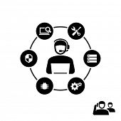 Technical support operator working on computer vector icon