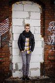 Fashion Male Portrait On Urban Wall