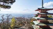 Mount Fuji And Chureito Pagoda, Japan.