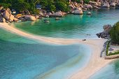 Top View Of White Sand Beach Of Nang Yuan Island Beautiful Destination Sea Heaven Place In Southern