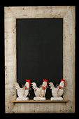 picture of roosters  - Vintage Easter chicken roosters with red hearts chalkboard blackboard in reclaimed old wooden frame isolated on black with copy space - JPG