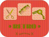 Hair salon, text Retro, three icons, dotted background