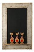 Vintage Valentines Love Cats Chalkboard Reclaimed Wood Frame Isolated On White
