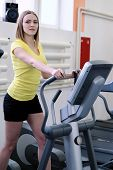 young girl is engaged in fitness