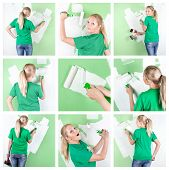 Collage Of Young Woman With Paint Tools At Home Interior