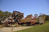 Threshing machine and hay racks