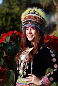picture of hmong  - Traditionally dressed Mhong hill tribe woman in the garden at mountain - JPG