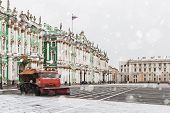 picture of winter palace  - snow removal on the Palace Square in St - JPG
